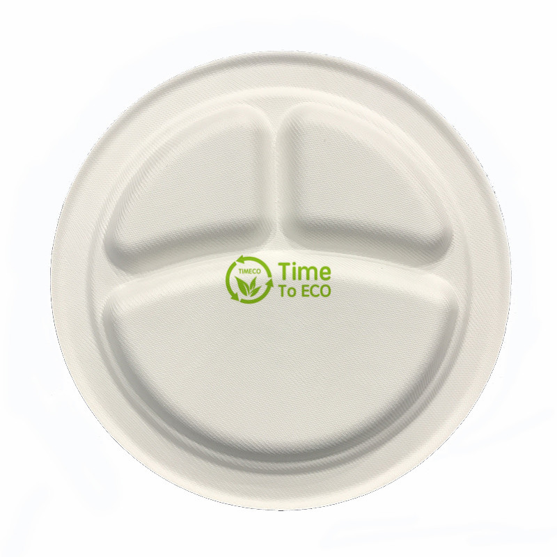 9 inch 3 compartments bagasse plate