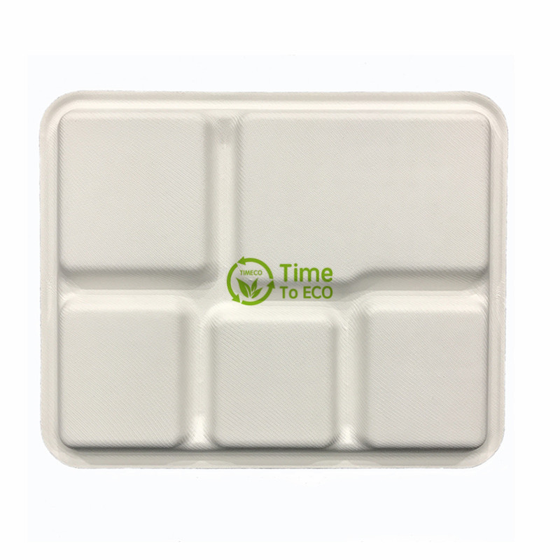 5 compartments bagasse rectangle plate