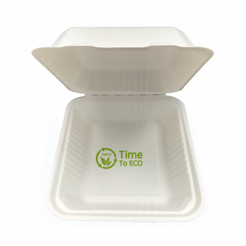 8 inch sugarcane bagasse clamshell box