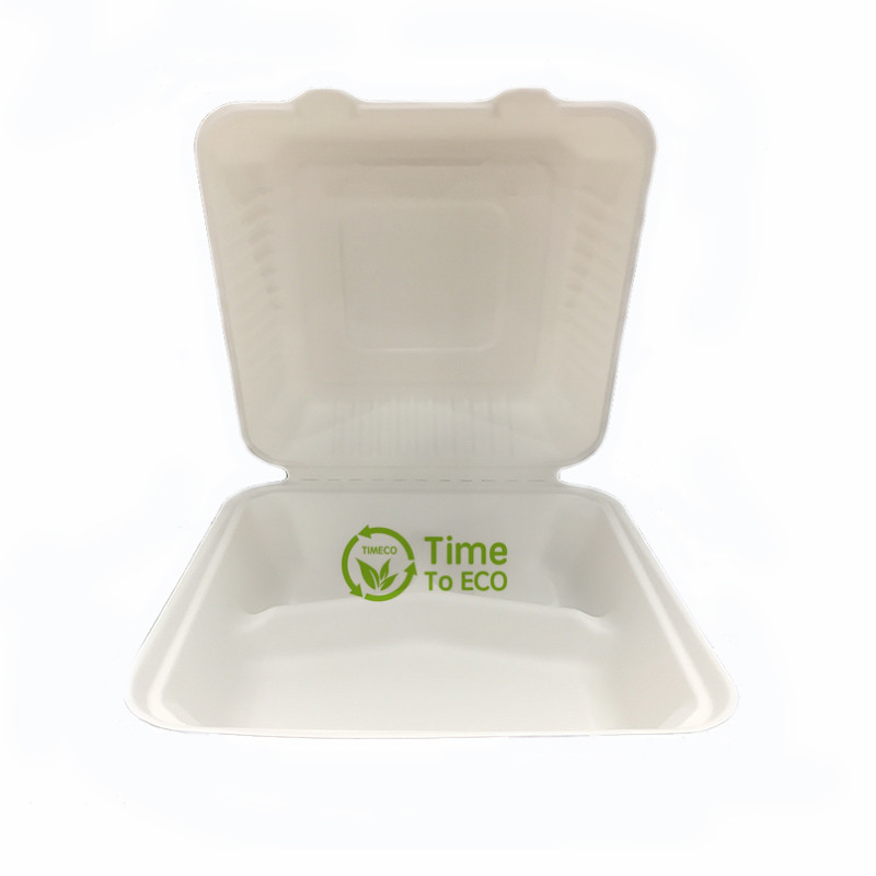 9 inch 3 Compartments sugarcane bagasse clamshell box