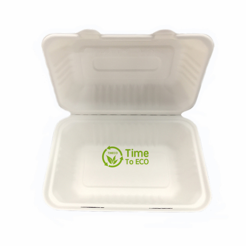 9 * 6 inch sugarcane bagasse clamshell box