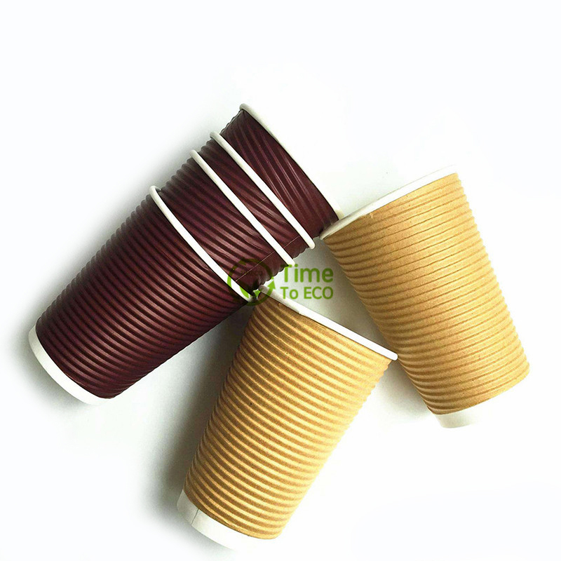 Horizontal Ripple Corrugated Bagasse Paper Cups