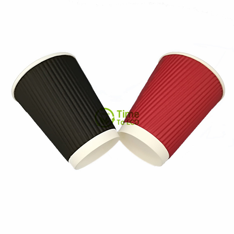 Vertical Ripple Corrugated Bagasse Paper Cups