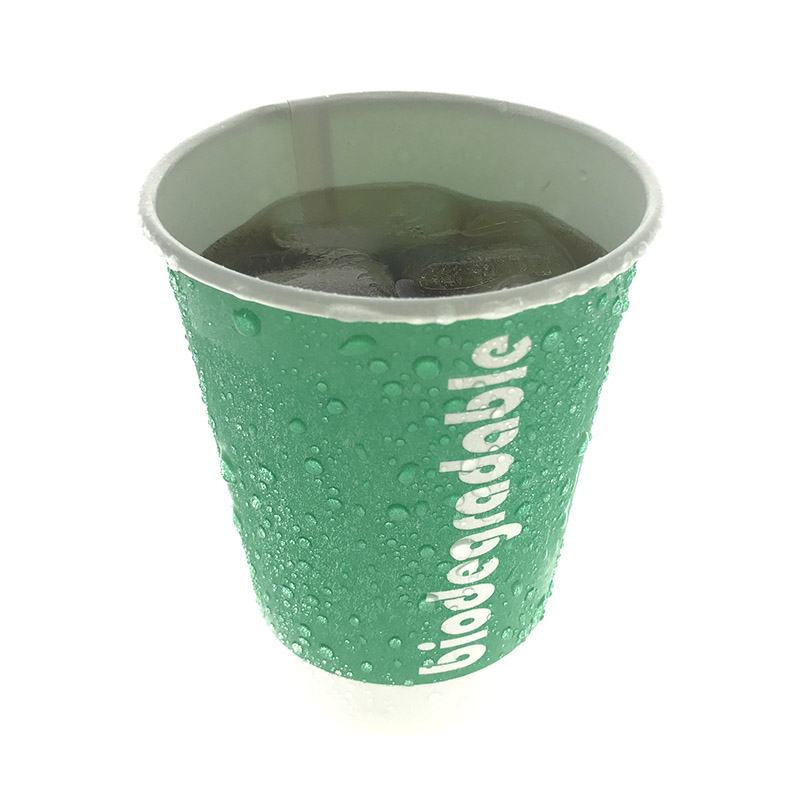 PLA double lined cold drinking bagasse paper cup