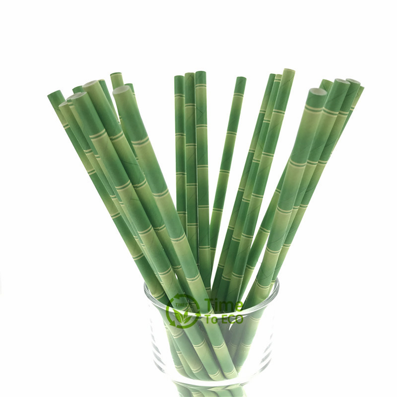 Green bamboo design paper straw