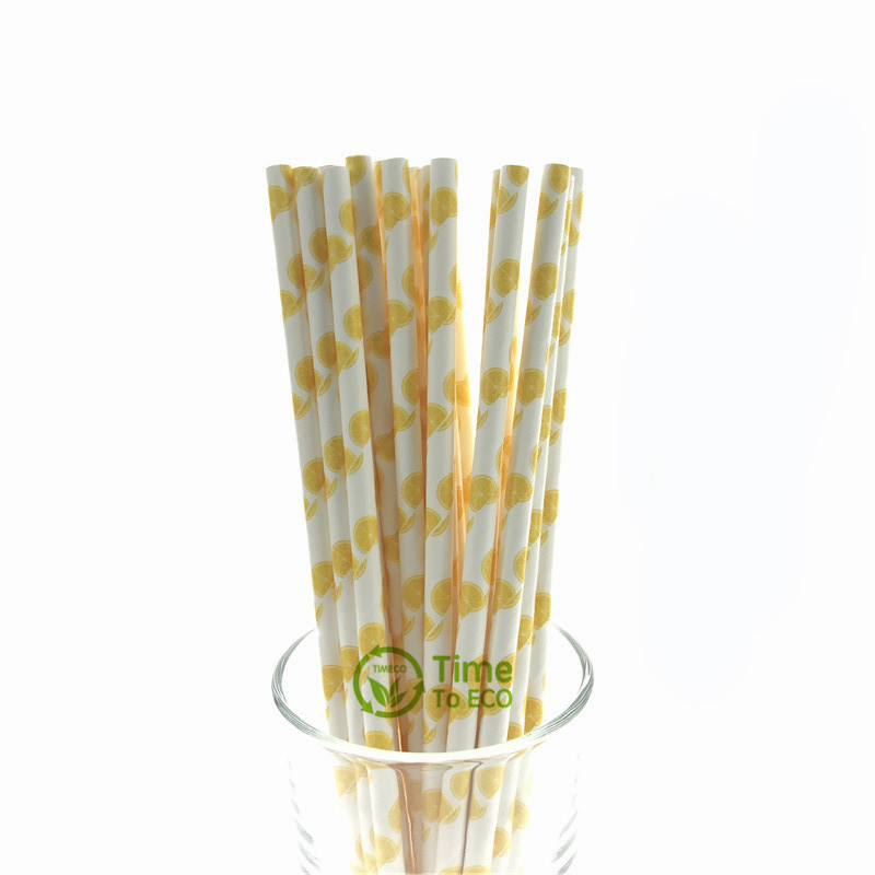 Lemon design paper straw