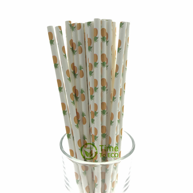 Pineapple design paper straw