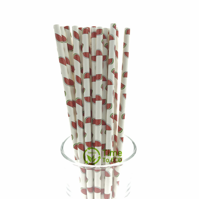 Watermelon design paper straw
