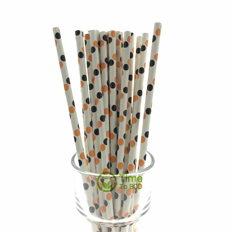 Black and orange round dot paper straw