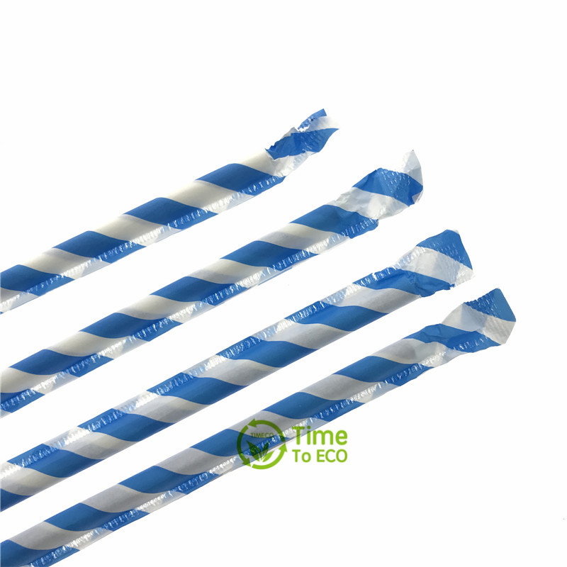 Blue striped paper wraped paper straw