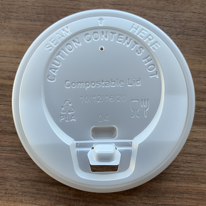 Compostable cPLA Coffee Cup Lid with Switch Cover